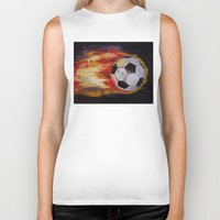 soccer Biker Tanks featuring Soccer by Michael Creese