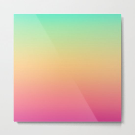Ombre gradient digital illustration pink, blue, orange colors Metal Print