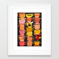 calender Framed Art Prints featuring Stapled Cups Calender 2012 by Elisandra