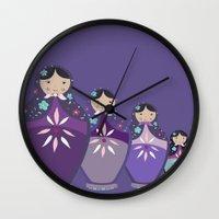 russian Wall Clocks featuring RUSSIAN DOLLS by Monika Strigel®