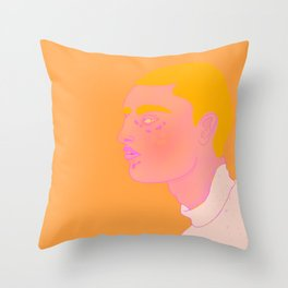 Orange Boy | Cyber Punk Space Person, Illustrated Portrait Throw Pillow