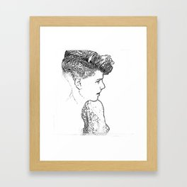Stipplism of a girl Framed Art Print