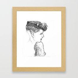 Stipplism of a girl Framed Art Print