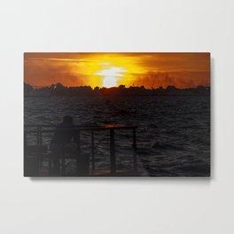 Man fishing at seaside in Izmir during sunset Metal Print