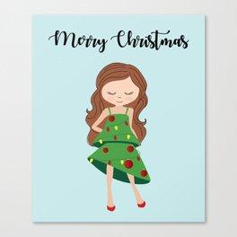 I am a Christmas Girl - Christmas tree inspired Canvas Print