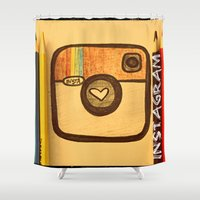 instagram Shower Curtains featuring For Instagram Lovers ;) by Julia Kovtunyak
