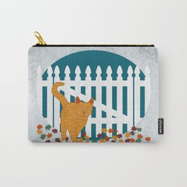 Orange Cat Picket Fence Carry-All Pouch