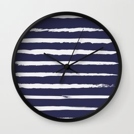 Irregular Hand Painted Stripes Dark Blue Wall Clock