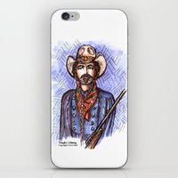 tom selleck iPhone & iPod Skins featuring Quigley Down Under, Tom Selleck Drawing by Douglas Mooney