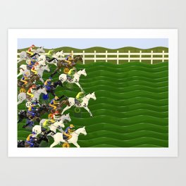 Horses and Jockeys Carnival Racing Game Art Print