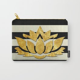 Horizontal Stripes & Gold Metallic Lotus Flower Carry-All Pouch