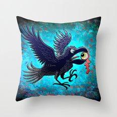 Crow Stealing an Eye Throw Pillow
