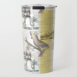 Vintage Tropical Cockatoo Pattern Travel Mug