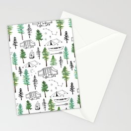 Camping and Trees Stationery Cards