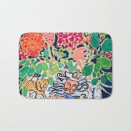 Lion, Cheetah and Tiger Still Life - Wildflowers in Wild Cat Vase After Matisse Bath Mat