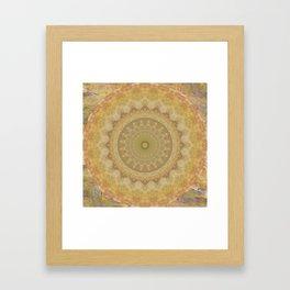 Topaz Gold Sun Marble Mandala Framed Art Print