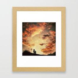 Coucher de soleil sur les Pyrénées Framed Art Print