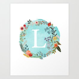 Personalized Monogram Initial Letter L Blue Watercolor Flower Wreath Artwork Art Print