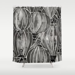 Black Vietnamese Lanterns Shower Curtain