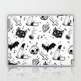 Bats, Cats and Skuls, Oh My! (B/W) Laptop & iPad Skin