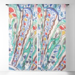 Abstract Art Of Vintage Decorated Ceramic Plates Sheer Curtain
