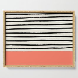 Coral x Stripes Serving Tray