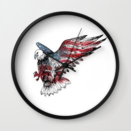 Watercolor bald eagle symbol of the United States Wall Clock