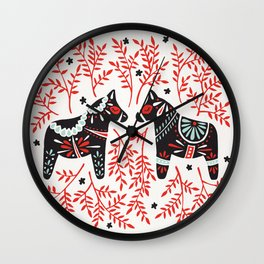 Swedish Dala Horses – Red and Black Palette Wall Clock