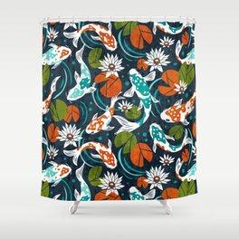 Koi Pond - Orange Shower Curtain