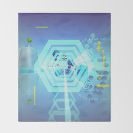 SONIC CYAN HEXAGON Throw Blanket