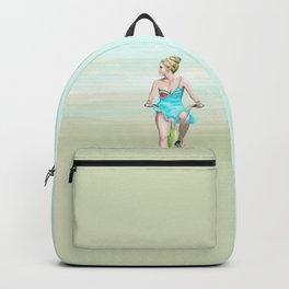 Girl going by bike Backpack