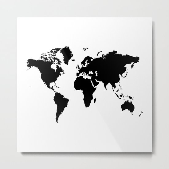 Black and White world map Metal Print