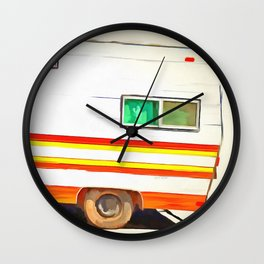 Vintage Camping Trailer Pop Wall Clock