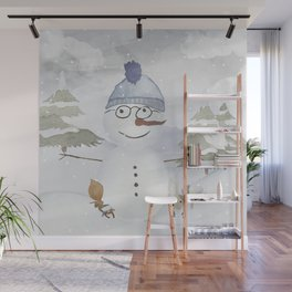 Winter Wonderland - Funny Snowman and friends - Watercolor illustration Wall Mural