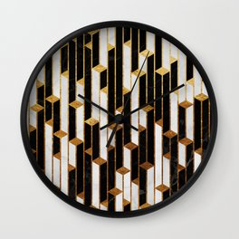 Marble Skyscrapers - Black, White and Gold Wall Clock