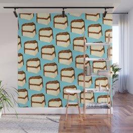 Chocolate Cake Slice Pattern - Blue Wall Mural