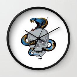 Snake Skull Skull Tattoo Wall Clock
