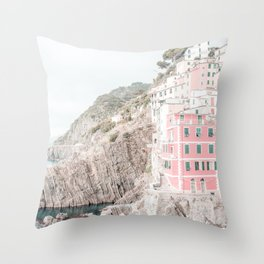 Positano, Italy Pink Travel Photography in hd Throw Pillow