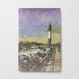 Oak Island lighthouse.  Watercolor batik painting of Oak Island lighthouse in North Carolina. Metal Print
