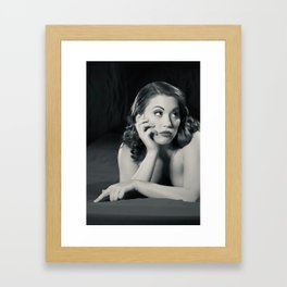 """Bored Now"" - The Playful Pinup - Modern Boudoir with Piercing by Maxwell H. Johnson Framed Art Print"