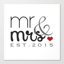 Mr. & Mrs. Typography - EST. 2015 Canvas Print