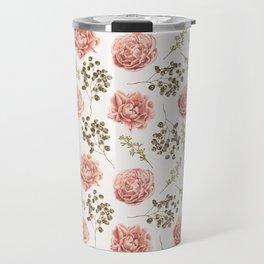 Vintage Roses Pattern Travel Mug