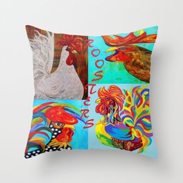Rooster Menagerie Throw Pillow
