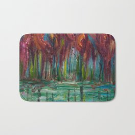Red Trees Thick Impasto Abstract  Painting Bath Mat