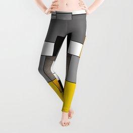 Black Yellow and Gray Geometric Art Leggings