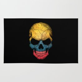 Dark Skull with Flag of Colombia Rug