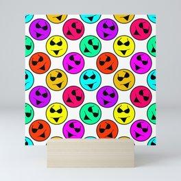 Smiley Bikini Bright Neon Smiles on White Mini Art Print