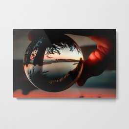 Holding a Sunrise refraction photography with a crystal ball Metal Print