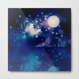 MOONLIGHT FOX Metal Print