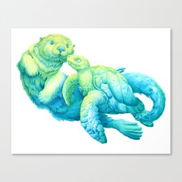 Sea Otter and Turtle Canvas Print